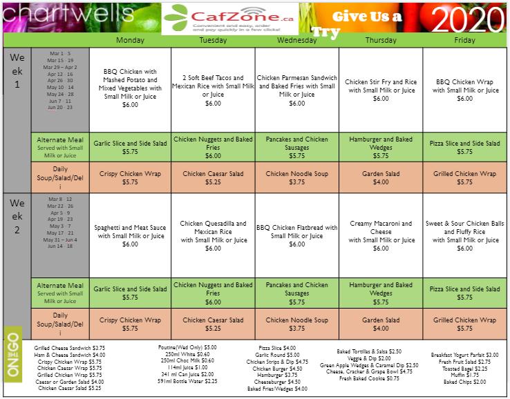 Chartwells Menu 2020
